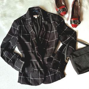 Merona Black White Window Pane Plaid Blazer Jacket